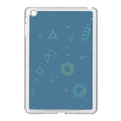 Geometric Debris In Space Blue Apple Ipad Mini Case (white) by AnjaniArt