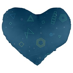 Geometric Debris In Space Blue Large 19  Premium Flano Heart Shape Cushions by AnjaniArt