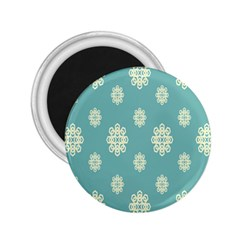 Geometric Snowflake Retro Snow Blue 2 25  Magnets by AnjaniArt