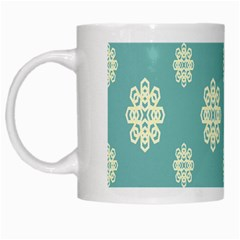 Geometric Snowflake Retro Snow Blue White Mugs by AnjaniArt