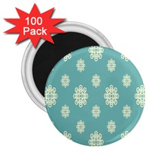 Geometric Snowflake Retro Snow Blue 2 25  Magnets (100 Pack)  by AnjaniArt
