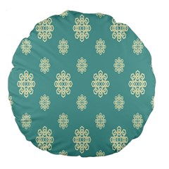 Geometric Snowflake Retro Snow Blue Large 18  Premium Flano Round Cushions by AnjaniArt
