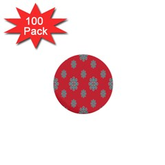 Geometric Snowflake Retro Red 1  Mini Buttons (100 Pack)