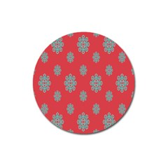 Geometric Snowflake Retro Red Magnet 3  (round) by AnjaniArt