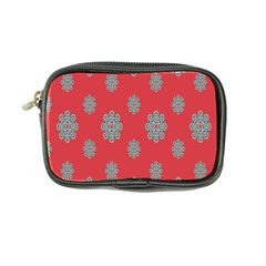 Geometric Snowflake Retro Red Coin Purse by AnjaniArt