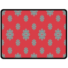Geometric Snowflake Retro Red Fleece Blanket (large)  by AnjaniArt