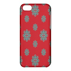 Geometric Snowflake Retro Red Apple Iphone 5c Hardshell Case by AnjaniArt