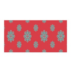 Geometric Snowflake Retro Red Satin Wrap by AnjaniArt