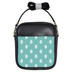 Geometric Snowflake Retro Snow Girls Sling Bags by AnjaniArt