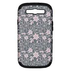 Gray Flower Floral Flowering Leaf Samsung Galaxy S Iii Hardshell Case (pc+silicone) by AnjaniArt