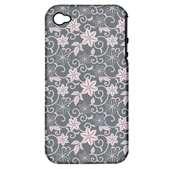 Gray Flower Floral Flowering Leaf Apple Iphone 4/4s Hardshell Case (pc+silicone) by AnjaniArt