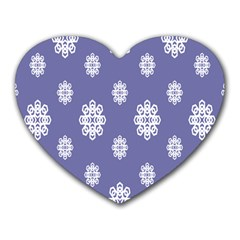 Geometric Snowflake Retro Purple Heart Mousepads by AnjaniArt