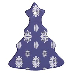 Geometric Snowflake Retro Purple Christmas Tree Ornament (two Sides) by AnjaniArt