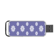 Geometric Snowflake Retro Purple Portable Usb Flash (one Side) by AnjaniArt