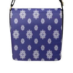 Geometric Snowflake Retro Purple Flap Messenger Bag (l)  by AnjaniArt