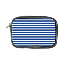Horizontal Stripes Dark Blue Coin Purse by AnjaniArt