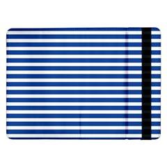Horizontal Stripes Dark Blue Samsung Galaxy Tab Pro 12 2  Flip Case