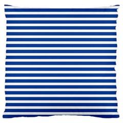 Horizontal Stripes Dark Blue Standard Flano Cushion Case (two Sides) by AnjaniArt