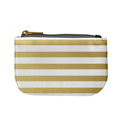 Horizontal Stripes Dark Brown Grey Mini Coin Purses by AnjaniArt