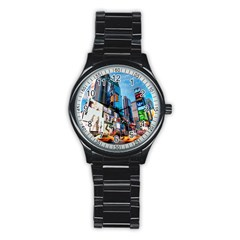New York City Stainless Steel Round Watch by Onesevenart