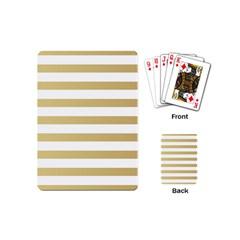 Horizontal Stripes Dark Brown Grey Playing Cards (mini)  by AnjaniArt