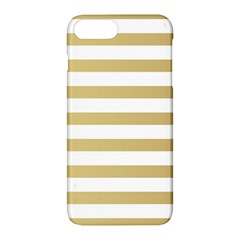 Horizontal Stripes Dark Brown Grey Apple Iphone 7 Plus Hardshell Case by AnjaniArt