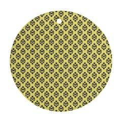 Halloween Scrapbook Paper Bat Yellow Ornament (round) by AnjaniArt