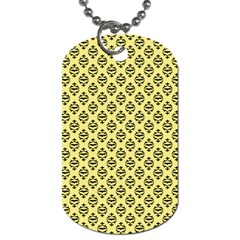 Halloween Scrapbook Paper Bat Yellow Dog Tag (two Sides) by AnjaniArt