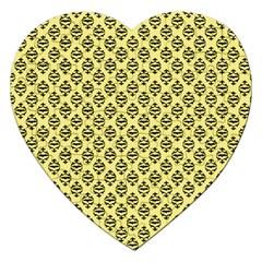 Halloween Scrapbook Paper Bat Yellow Jigsaw Puzzle (heart) by AnjaniArt