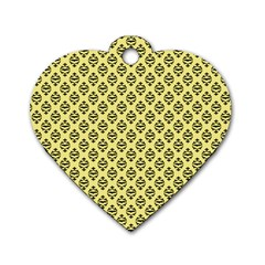 Halloween Scrapbook Paper Bat Yellow Dog Tag Heart (one Side) by AnjaniArt