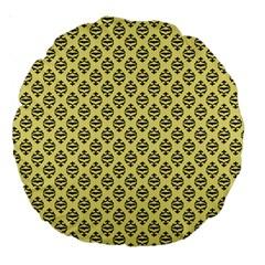 Halloween Scrapbook Paper Bat Yellow Large 18  Premium Round Cushions by AnjaniArt