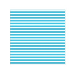 Horizontal Stripes Blue Small Satin Scarf (square) by AnjaniArt