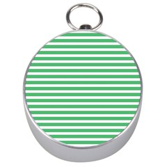 Horizontal Stripes Green Silver Compasses by AnjaniArt