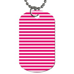 Horizontal Stripes Hot Pink Dog Tag (one Side) by AnjaniArt