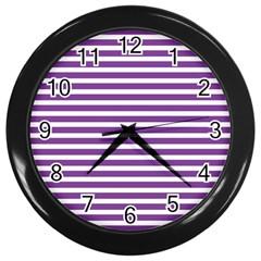 Horizontal Stripes Purple Wall Clocks (black) by AnjaniArt