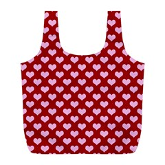Hearts Love Valentine Pink Day Happy Wallpaper Full Print Recycle Bags (l)  by AnjaniArt
