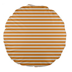 Horizontal Stripes Orange Large 18  Premium Flano Round Cushions by AnjaniArt