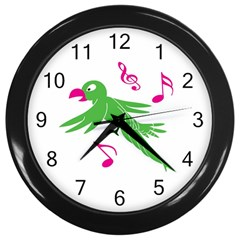 Parrot Bird Green Wall Clocks (black) by AnjaniArt