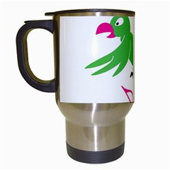 Parrot Bird Green Travel Mugs (White) by AnjaniArt