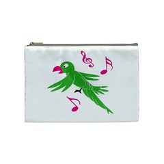 Parrot Bird Green Cosmetic Bag (medium)  by AnjaniArt
