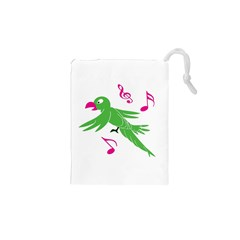 Parrot Bird Green Drawstring Pouches (xs)  by AnjaniArt