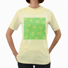 Pastel Leaves Women s Yellow T Shirt by AnjaniArt