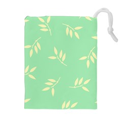 Pastel Leaves Drawstring Pouches (extra Large) by AnjaniArt