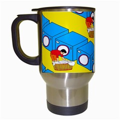 Machine Washing Clothes Blue Yellow Dirty Travel Mugs (white) by AnjaniArt