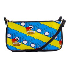 Machine Washing Clothes Blue Yellow Dirty Shoulder Clutch Bags by AnjaniArt