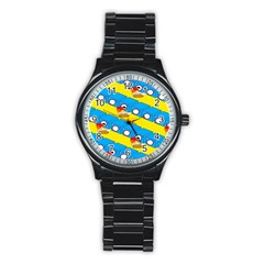 Machine Washing Clothes Blue Yellow Dirty Stainless Steel Round Watch by AnjaniArt