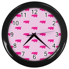 Pig Pink Animals Wall Clocks (black) by AnjaniArt
