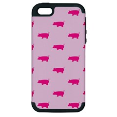 Pig Pink Animals Apple Iphone 5 Hardshell Case (pc+silicone) by AnjaniArt