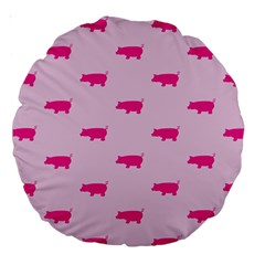 Pig Pink Animals Large 18  Premium Round Cushions by AnjaniArt