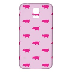 Pig Pink Animals Samsung Galaxy S5 Back Case (white) by AnjaniArt